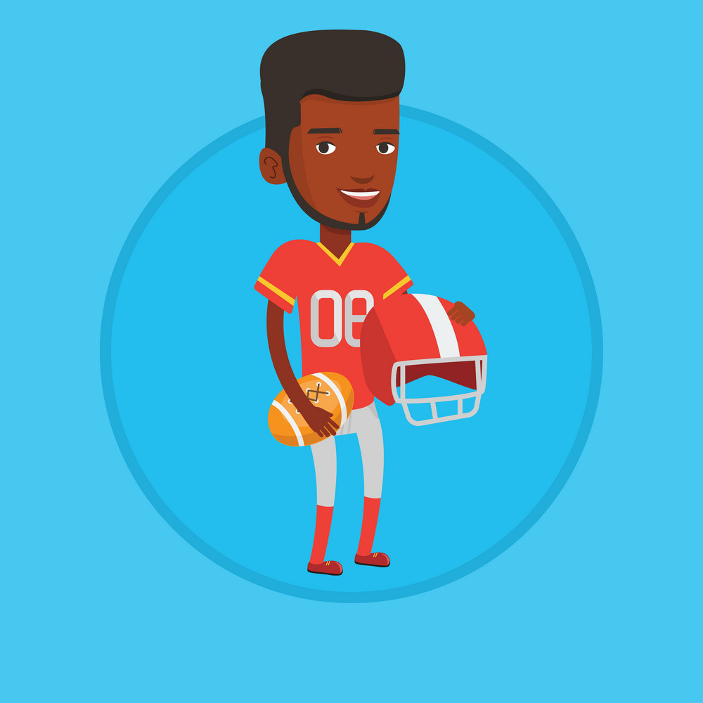 Cheerful african-american rugby player holding ball and helmet in hands. Full length of young smiling rugby player in uniform. Vector flat design illustration in the circle isolated on background.