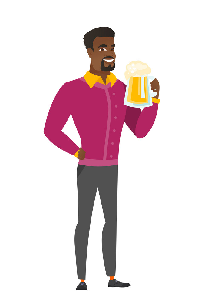 Cheerful african business man drinking beer. Full length of smiling businessman with beer. Young happy business man holding mug of beer. Vector flat design illustration isolated on white background