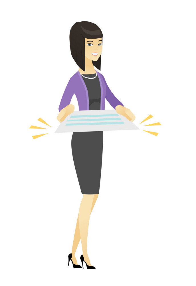 Cheerful asian business woman holding a contract. Full length of business woman with contract. Young business woman holding a contract. Vector flat design illustration isolated on white background.
