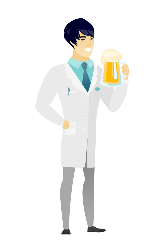 Cheerful asian doctor in medical gown drinking beer. Full length of smiling doctor with beer. Young happy doctor holding mug of beer. Vector flat design illustration isolated on white background.