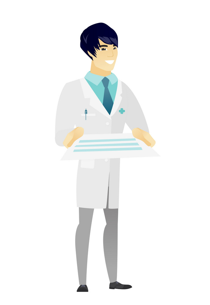 Cheerful asian doctor in medical gown holding a contract. Full length of smiling doctor with contract. Young doctor holding a contract. Vector flat design illustration isolated on white background.