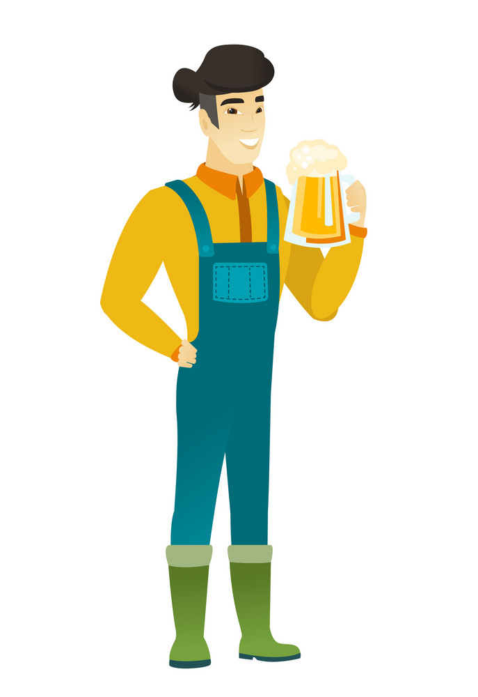 Cheerful asian farmer in coveralls drinking beer. Full length of smiling farmer with glass of beer. Young happy farmer holding mug of beer. Vector flat design illustration isolated on white background