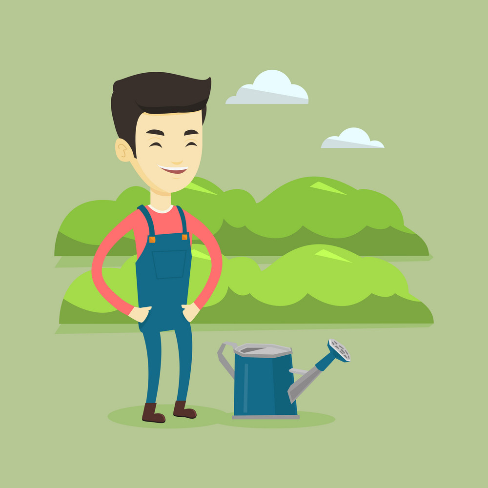 Cheerful asian farmer standing near a watering can on the background of agricultural field with green bushes. Young farmer watering plants in garden. Vector flat design illustration. Square layout.