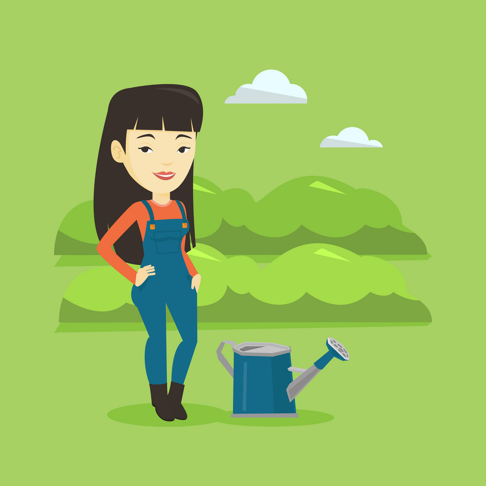 Cheerful asian female farmer standing near a watering can on the background of agricultural field with green bushes. Woman watering plants in garden. Vector flat design illustration. Square layout.