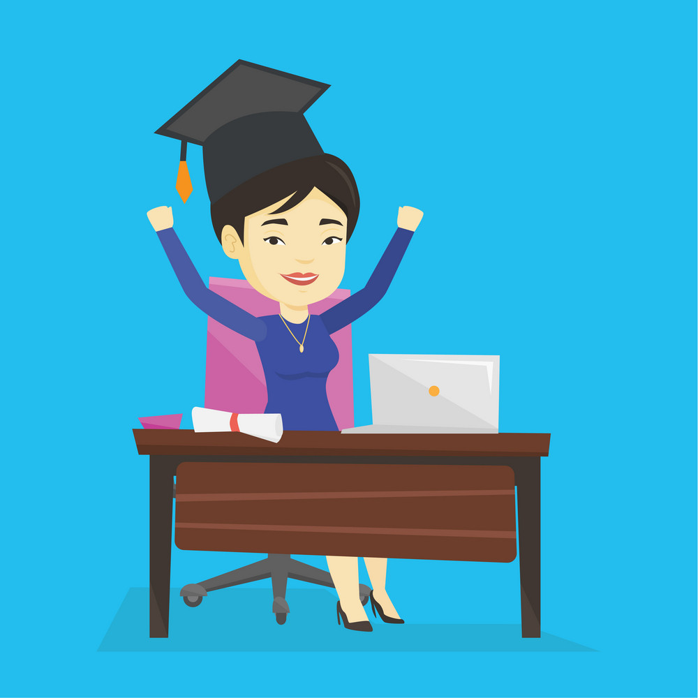 Cheerful asian graduate sitting at the table with laptop and diploma. Graduate in graduation cap using laptop for education. Online graduation concept. Vector flat design illustration Square layout.