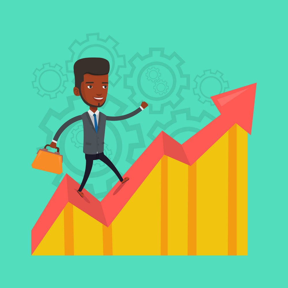 Cheerful bsinessman standing on profit chart. An african-american successful businessman running along the profit chart. Concept of business profit. Vector flat design illustration. Square layout.