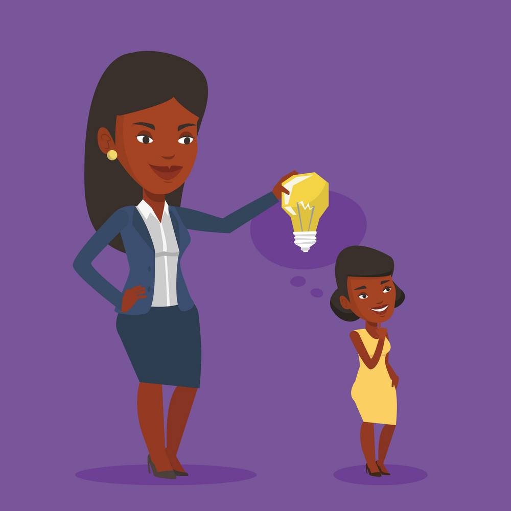 Cheerful business woman giving idea to her partner. Young african-american woman holding light bulb over head of her collegue. Business idea concept. Vector flat design illustration. Square layout.