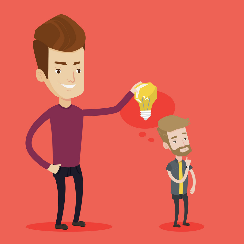 Cheerful businessman giving idea to his partner. Young man holding light bulb over head of his collegue. Business partnership and business idea concept. Vector flat design illustration. Square layout.