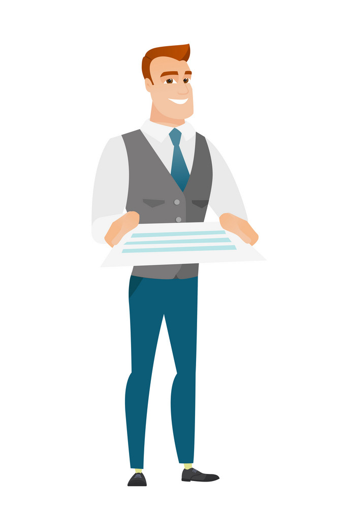 Cheerful caucasian businessman holding a contract. Full length of smiling businessman with contract. Young businessman holding a contract. Vector flat design illustration isolated on white background.
