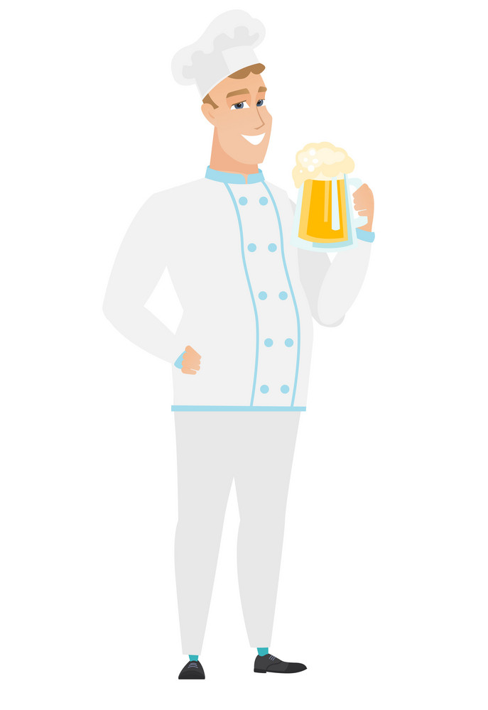 Cheerful caucasian chef cook drinking beer. Full length of widely smiling chef cook with beer. Young happy chef cook holding mug of beer. Vector flat design illustration isolated on white background.