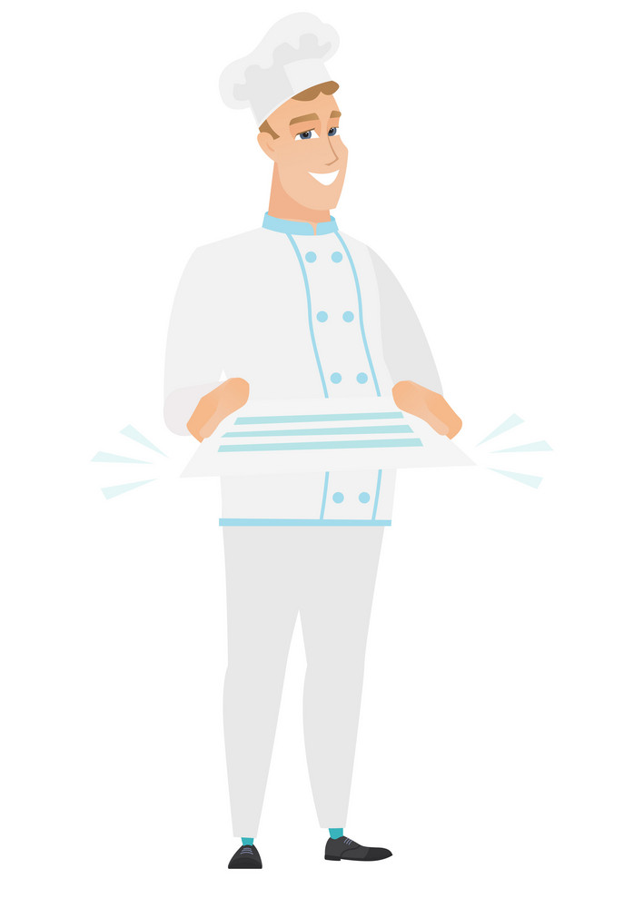 Cheerful caucasian chef cook holding a contract. Full length of smiling chef cook with a contract. Young chef cook holding a contract. Vector flat design illustration isolated on white background.