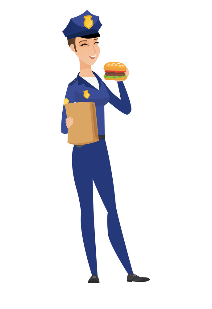 Cheerful caucasian female police officer eating hamburger. Full length of young smiling female police officer with hamburger in hand. Vector flat design illustration isolated on white background.