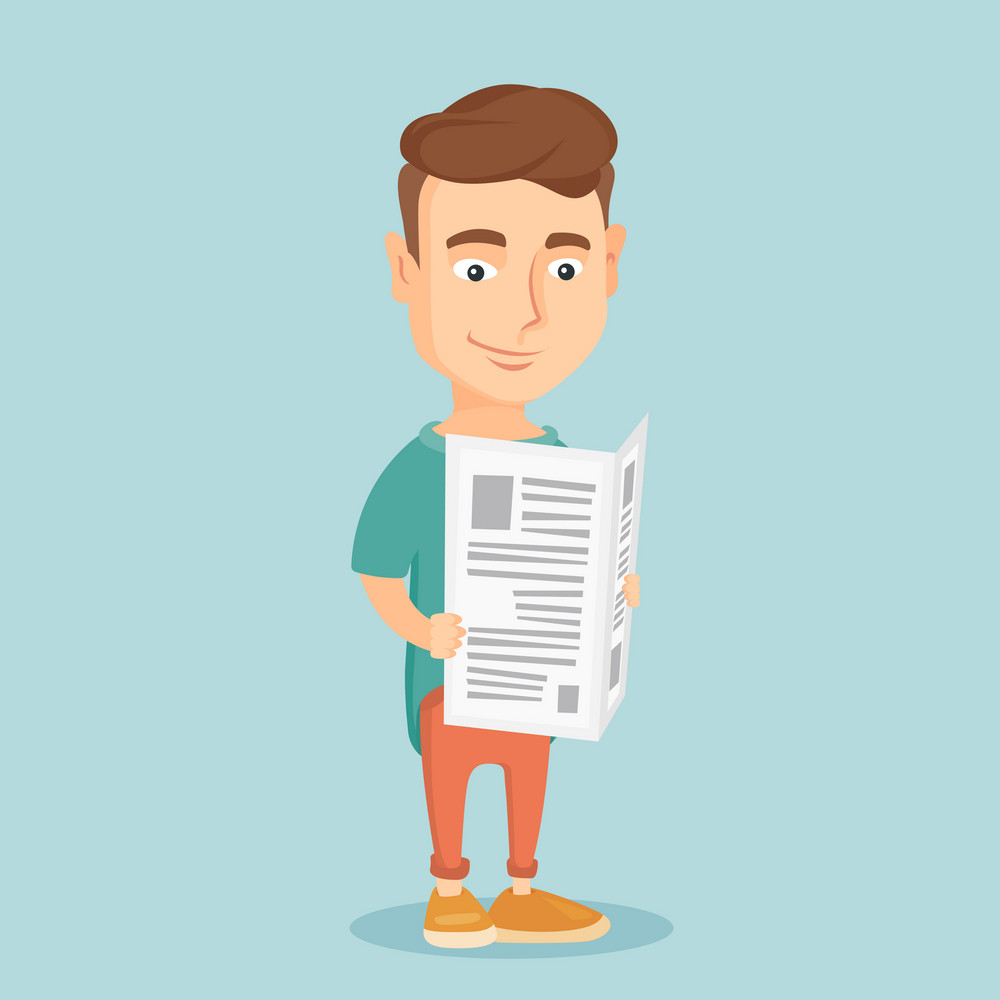 Cheerful caucasian man reading the newspaper. Young smiling man reading good news in newspaper. Man standing with newspaper in hands. Vector flat design illustration. Square layout.