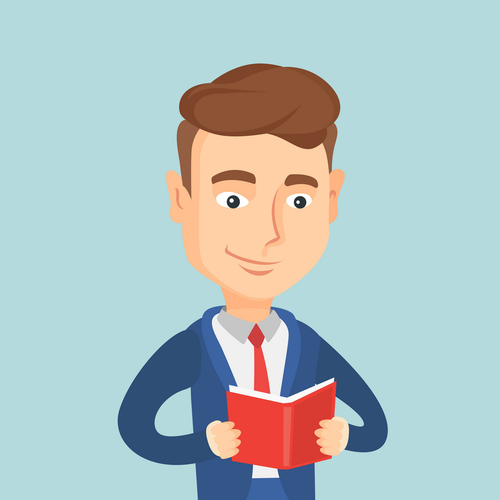 Cheerful caucasian student reading a book and preparing for exam. Smiling student reading a book. Student holding a book in hands. Concept of education. Vector flat design illustration. Square layout.