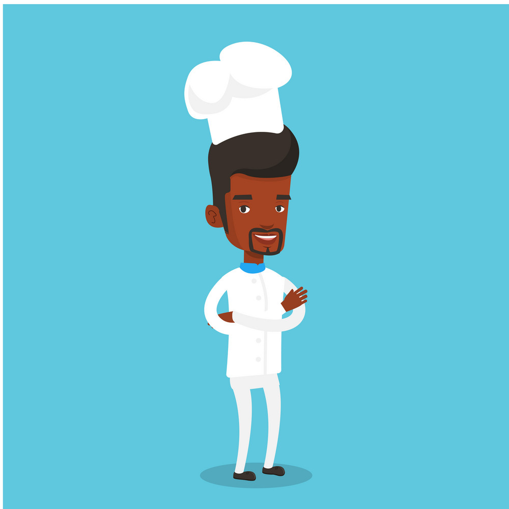 Cheerful chief cook in uniform and hat standing with arms crossed. Young african-american chef cook. Full length of confident male chief cook. Vector flat design illustration. Square layout.