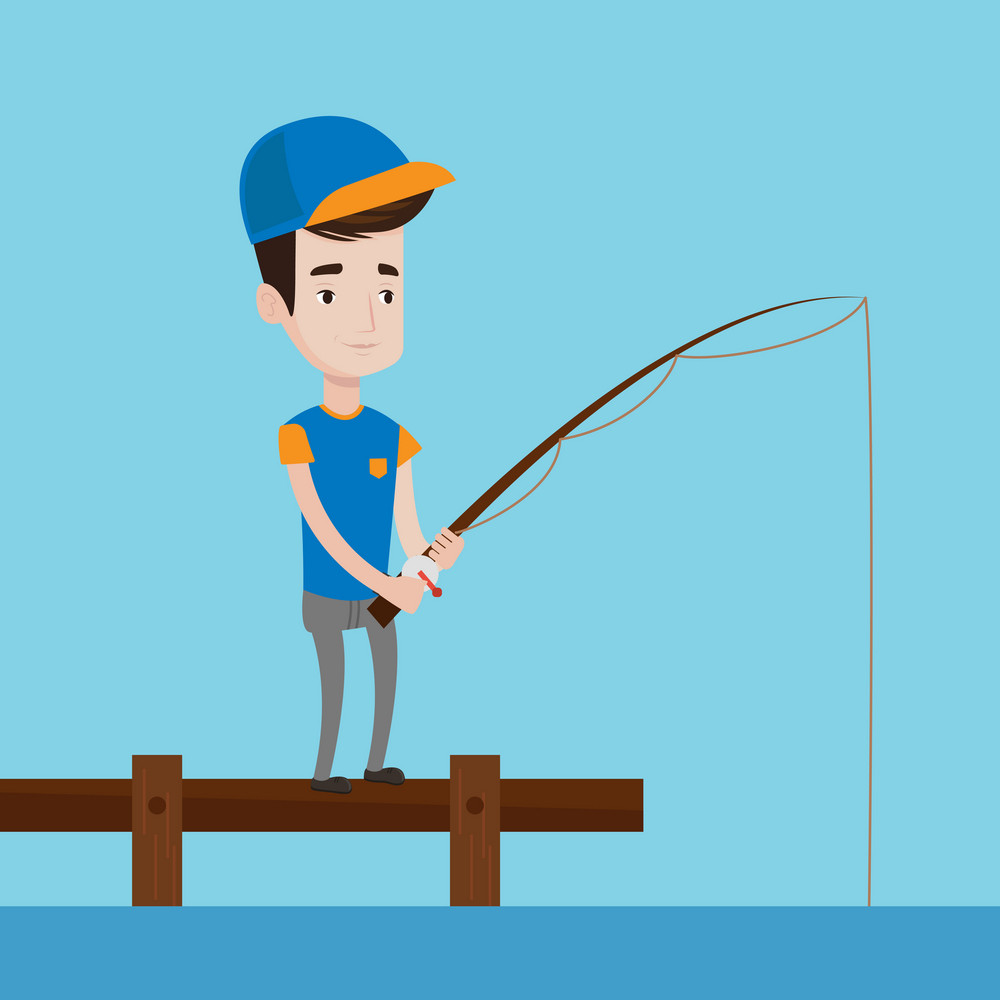 Cheerful fisherman fishing on the lake. Young caucasian man relaxing during fishing on jetty. Smiling angler standing on jetty with fishing-rod in hands. Vector flat design illustration. Square layout