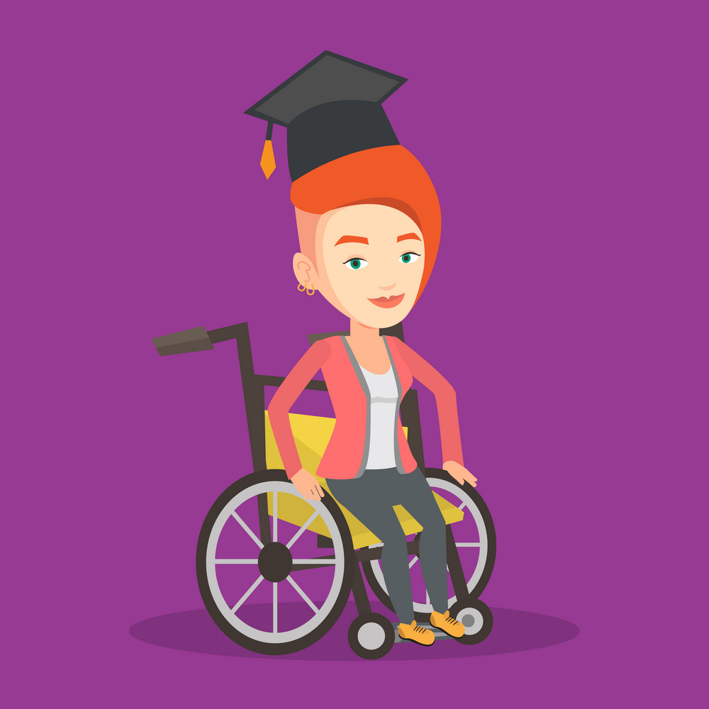 Cheerful graduate sitting in wheelchair. Young caucasian student sitting in wheelchair. Vector flat design illustration. Square layout.