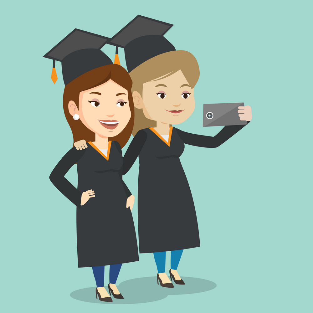 Cheerful graduates in cloaks and graduation caps making selfie. Happy graduates making selfie with cellphone. Young caucasian graduates making selfie. Vector flat design illustration. Square layout.