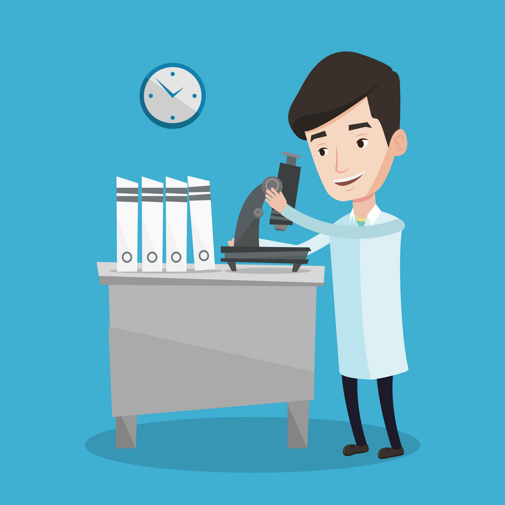Cheerful male laboratory assistant working with microscope at the laboratory. Young scientist using a microscope in a laboratory. Vector flat design illustration. Square layout.