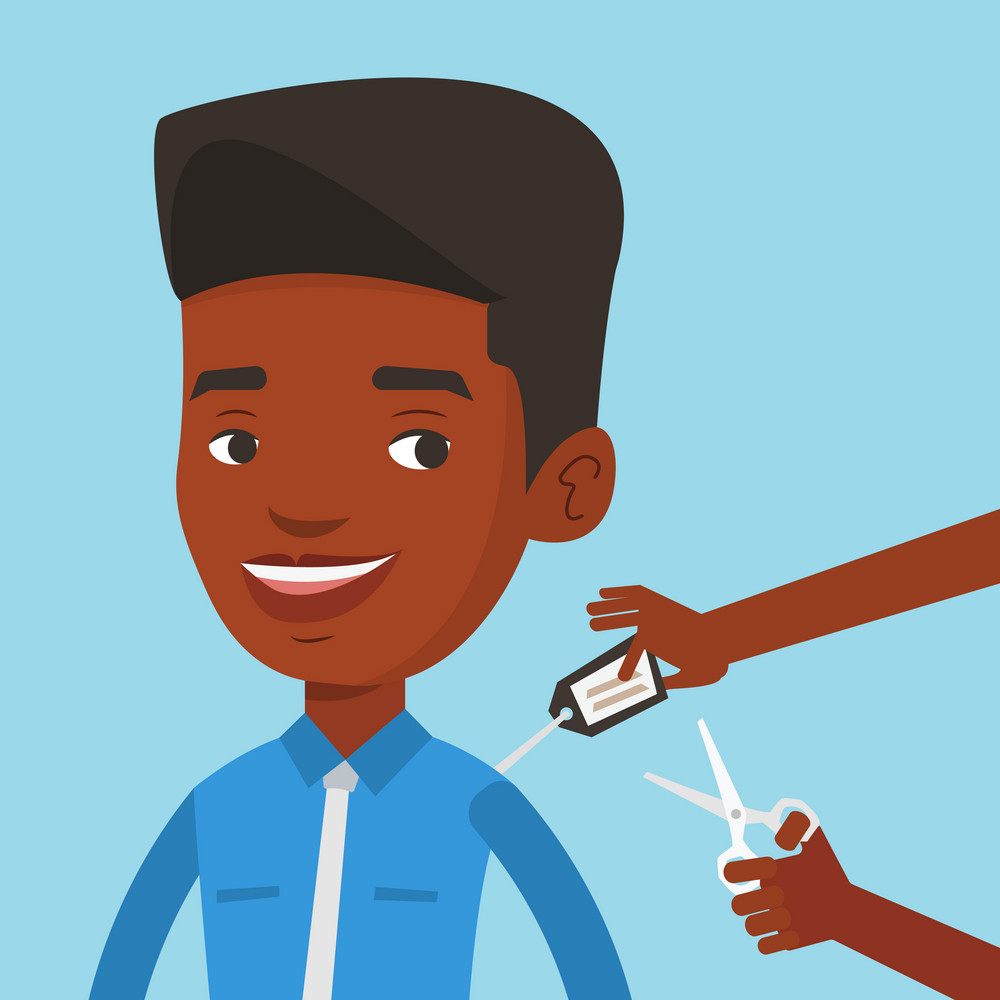 Cheerful man removing price tag off new t-shirt. Young african-american man cutting label off new clothes with scissors. Man shopping at clothes store. Vector flat design illustration. Square layout.