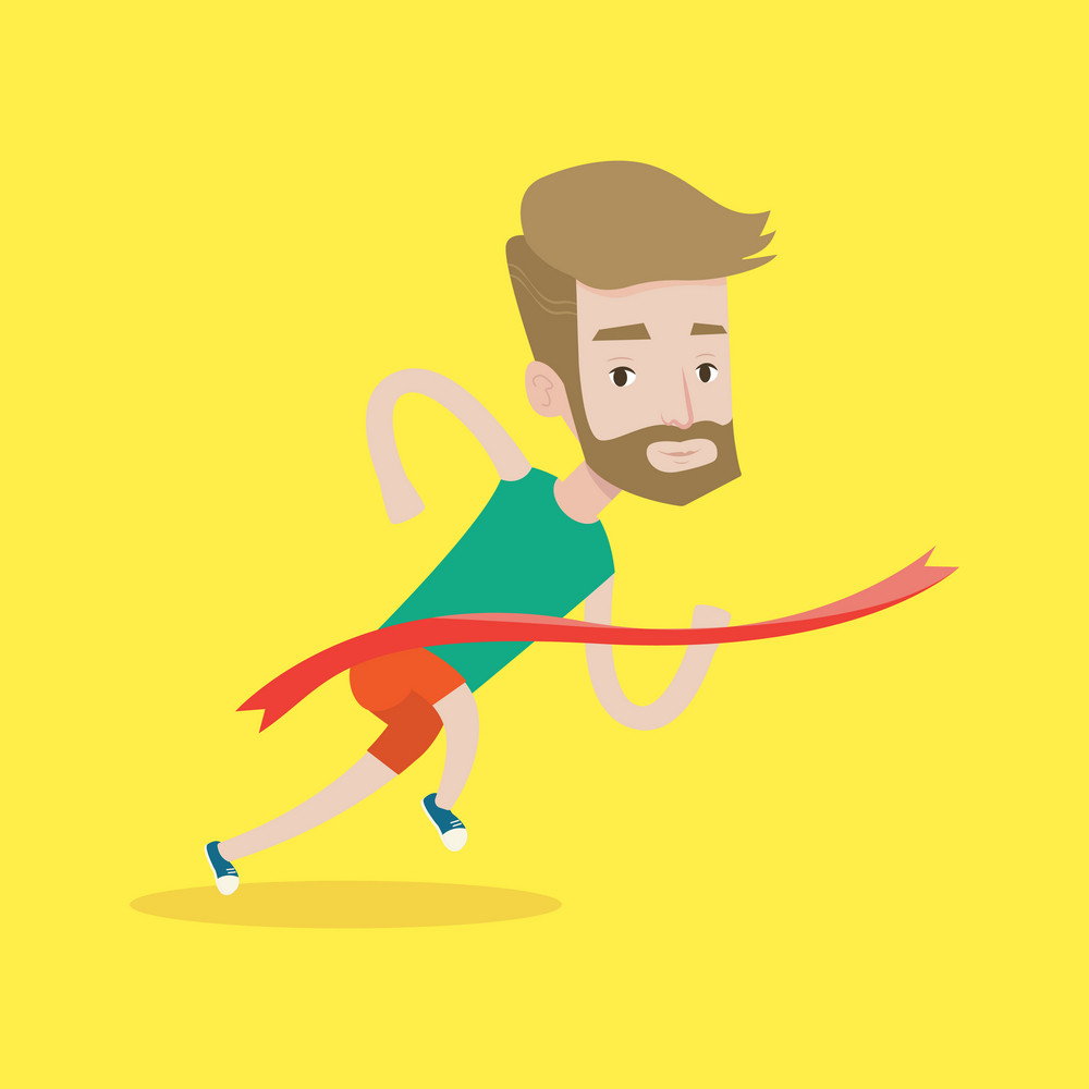 Cheerful winner crossing finish line. Young caucasian smiling athlete winning marathon. A hipster sprinter with the beard breaking the tape. Vector flat design illustration. Square layout.