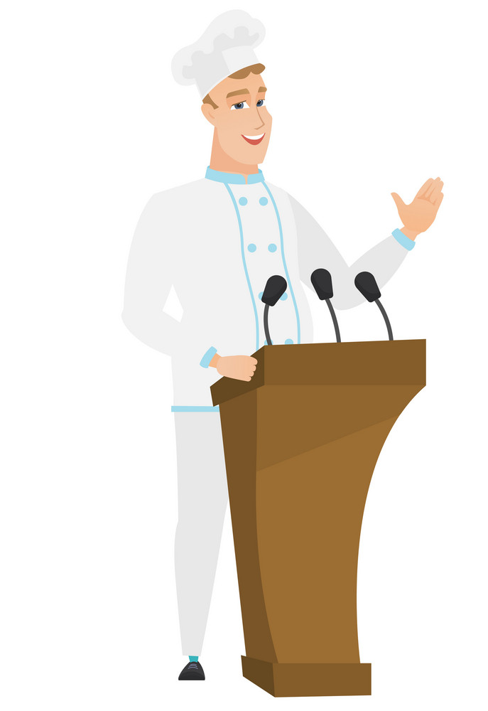 Chef cook speaking to audience from tribune. Chef cook giving speech from tribune. Chef cook standings behind tribune with microphones. Vector flat design illustration isolated on white background.