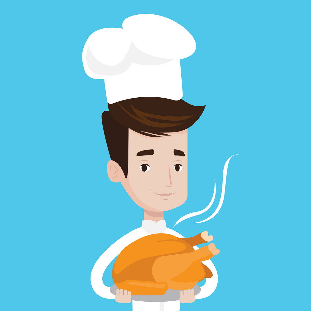 Chief cooker in uniform and cap holding roasted chicken. Young chief cooker with whole baked chicken. Chief cooker holding plate with just fried chicken. Vector flat design illustration. Square layout