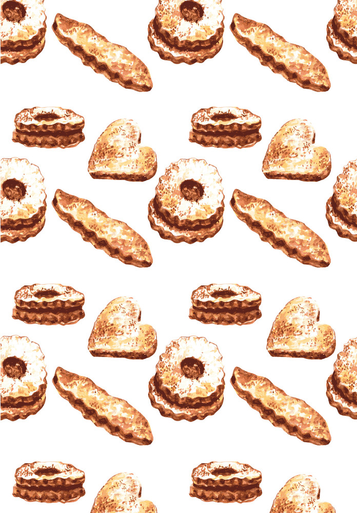Christmas background with gingerbread cookies. Vector watercolor illustration.