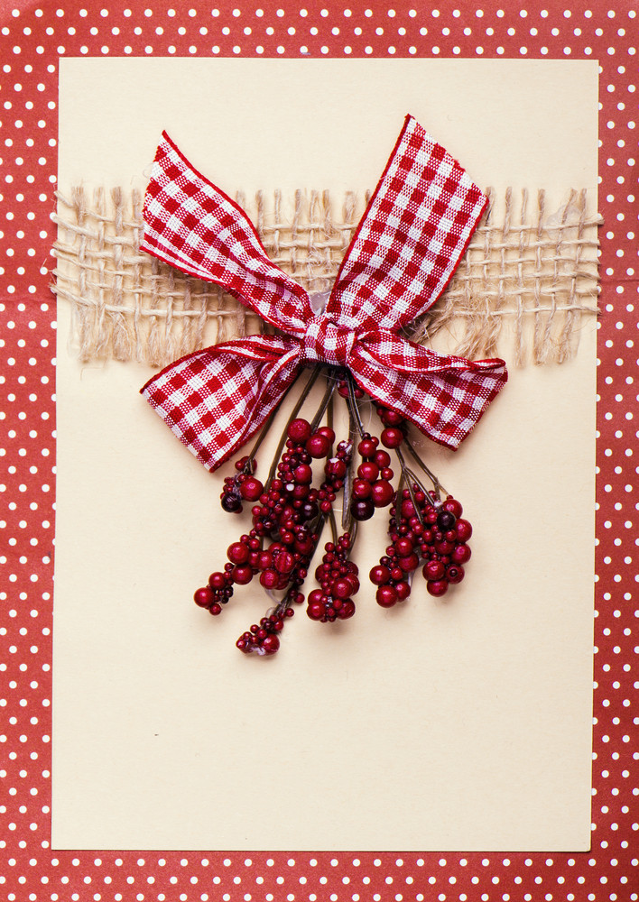 Christmas Card With Berry Decoration And Red Dotted Frame Royalty