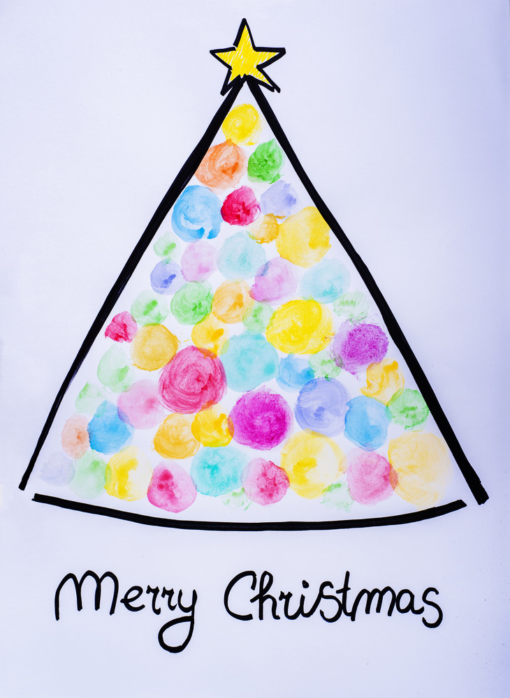 Christmas card with Christmas tree illustration on white background
