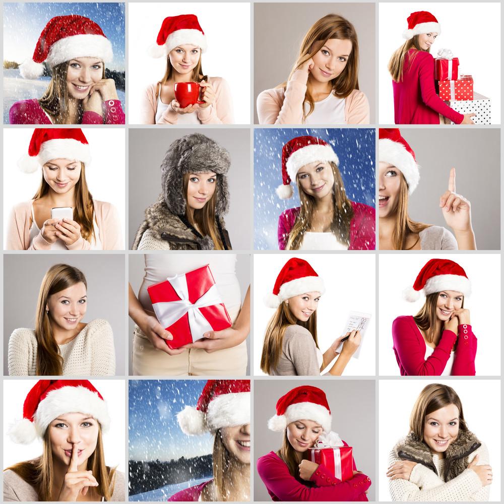 Christmas face collage of brunette girl in santa hat