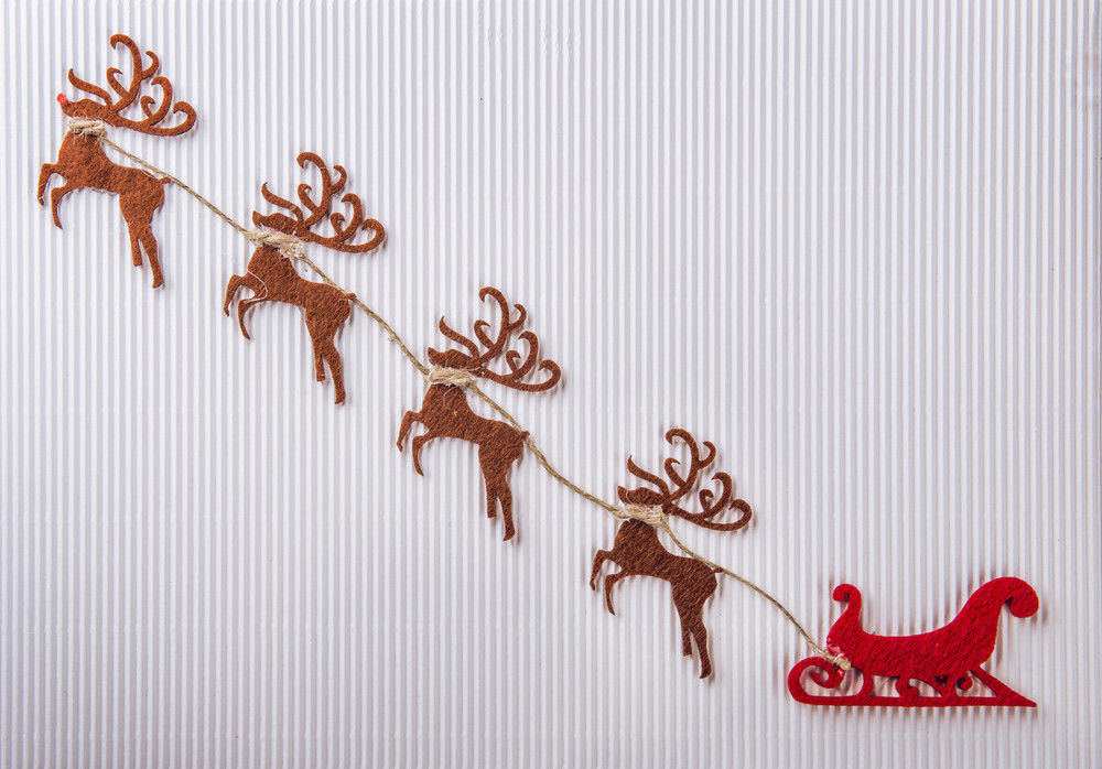 Christmas handmade card made from paper and other materials