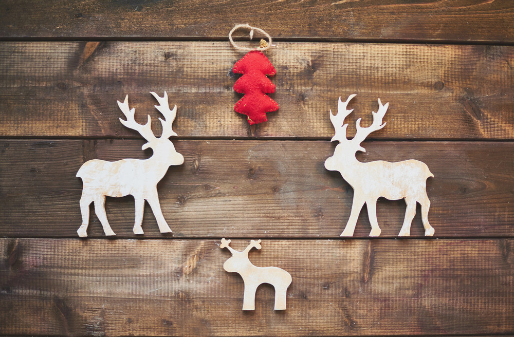 Christmas Symbol Made Of Wood And Fabric Royalty Free Stock Image