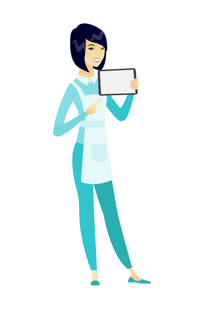 Cleaner in uniform holding tablet computer. Full length of young happy cleaner pointing at tablet computer. Cleaner with tablet computer. Vector flat design illustration isolated on white background.
