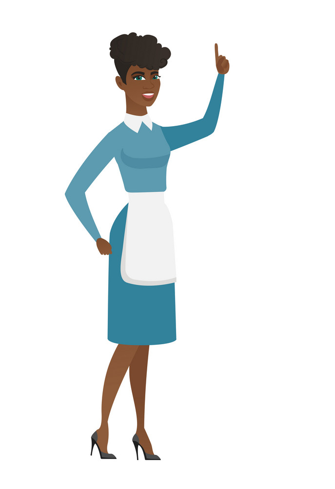 Cleaner pointing with her finger. Full length of young female cleaner in uniform pointing her finger up. Cleaner with finger pointing up. Vector flat design illustration isolated on white background.