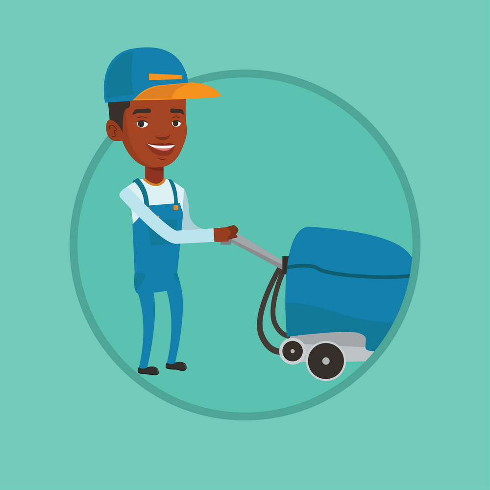 Cleaner with cleaning equipment. Worker cleaning store floor with cleaning machine. Worker of cleaning services in supermarket. Vector flat design illustration in the circle isolated on background.