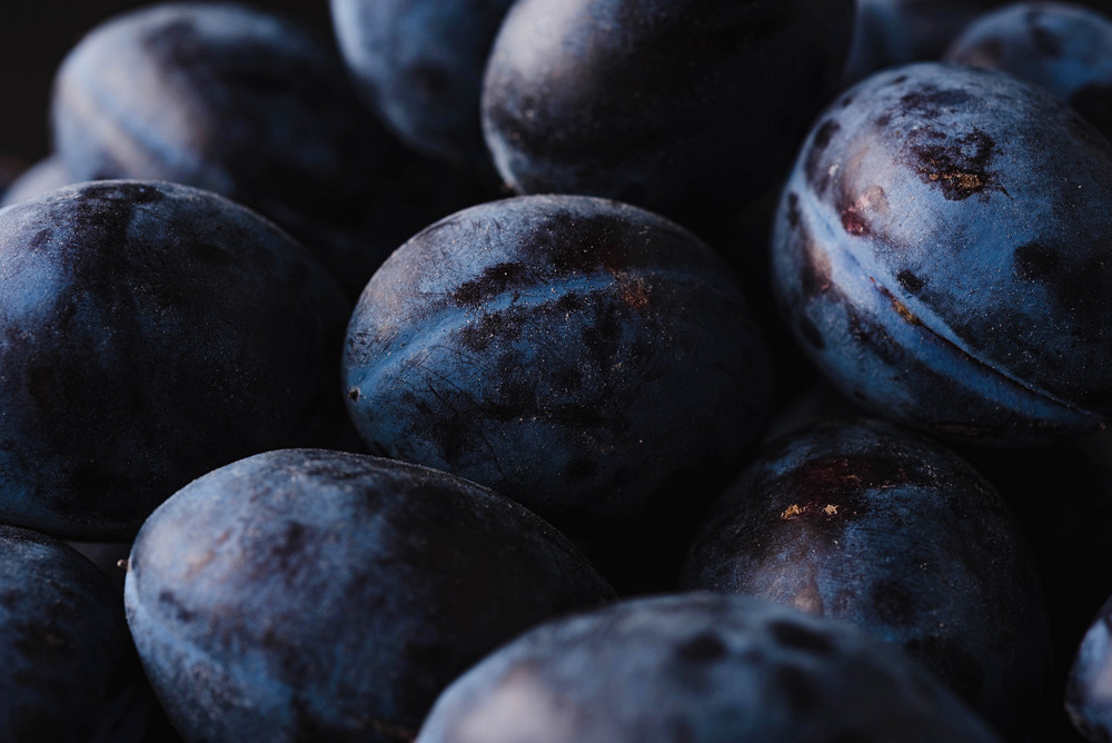 Close up of a fresh juicy plums