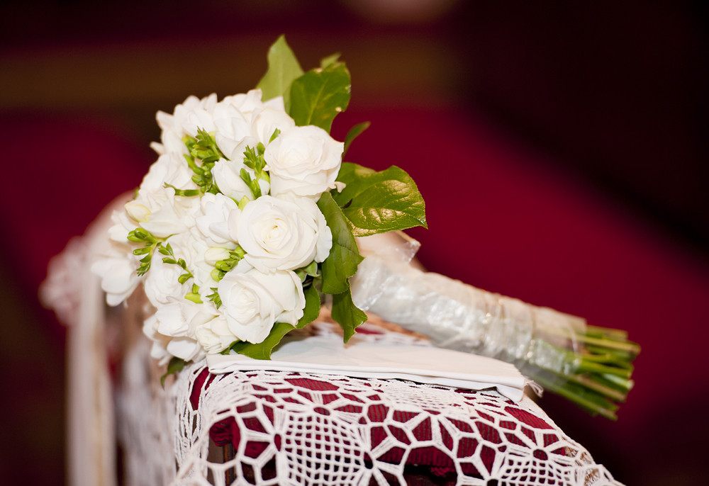 Close up of beautiful floral wedding bouquet