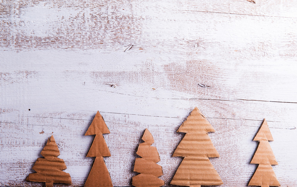 Close up of carton trees on white wooden background.