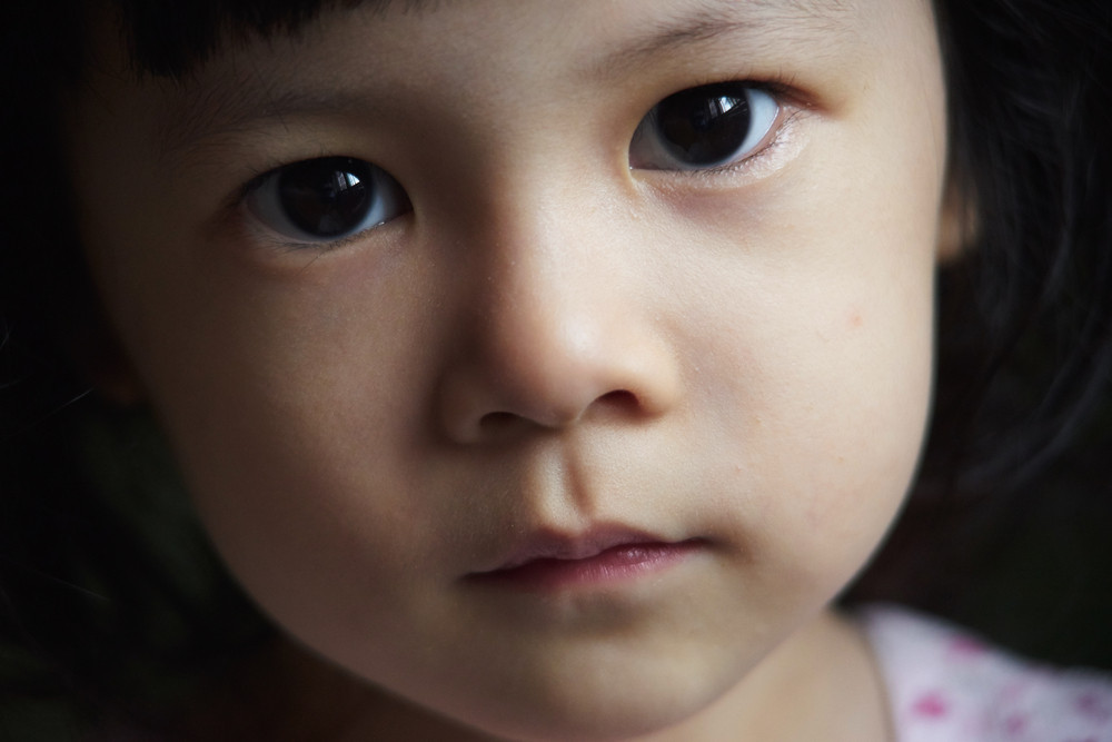 Close up portrait of young cute girl
