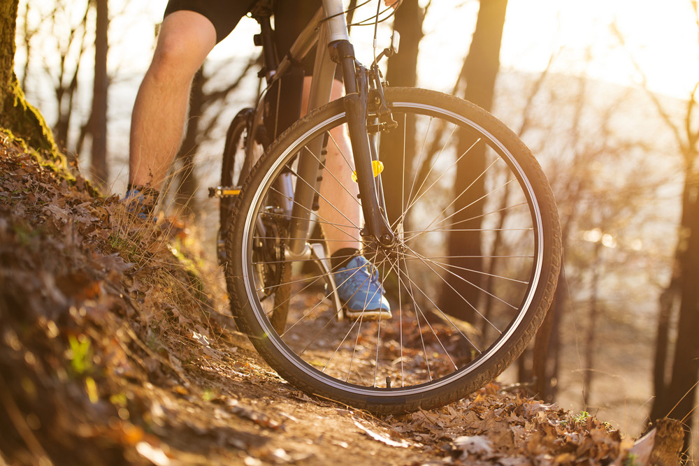Closeup of cyclist man legs riding mountain bike on outdoor trail in autumn forest
