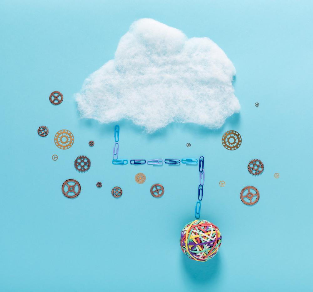 Cloud computing concept with big elastic band ball
