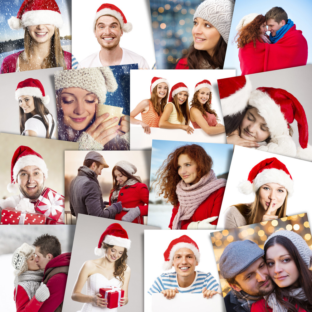 Collage of happy people in santa hats celebrating Christmas