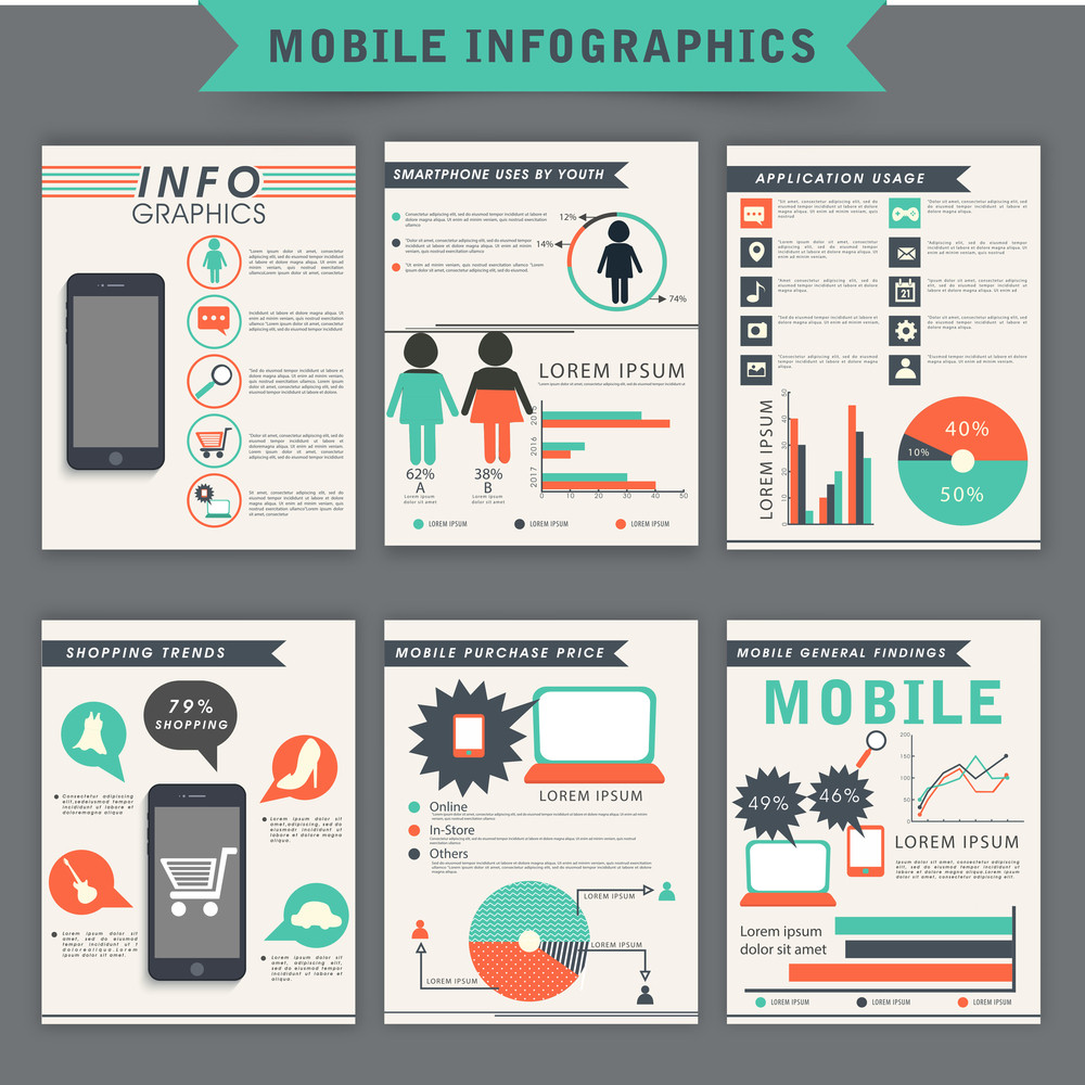 Collection Of Mobile Infographic Template Flyer Or Brochure With