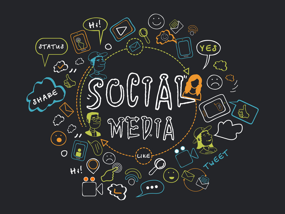 Collection Of Social Media Icons Signs And Symbols On Black