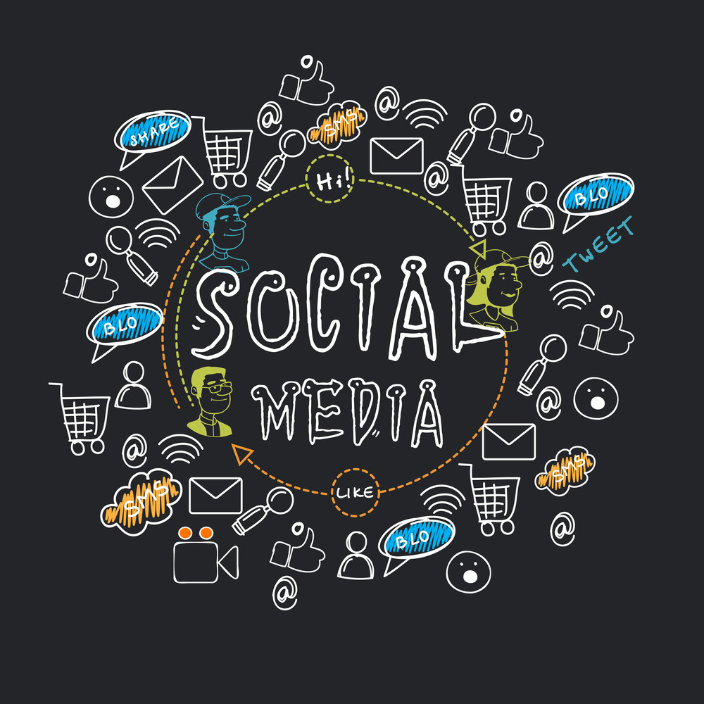 Collection Of Various Social Media Icons Signs And Symbols For