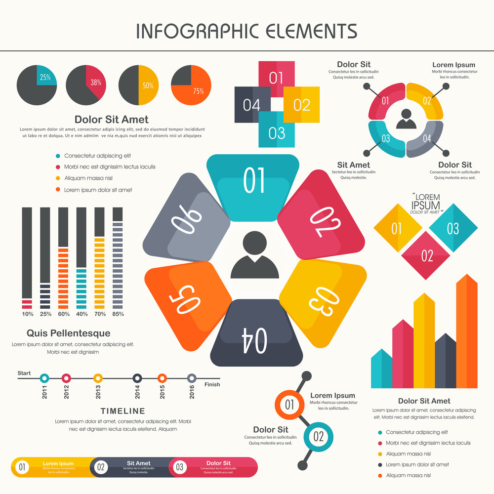 colorful business infographic elements set including statistical bar