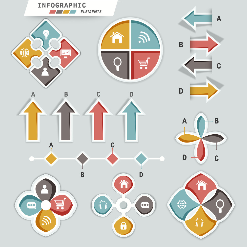 Colorful creative Business Infographic elements with web icons.