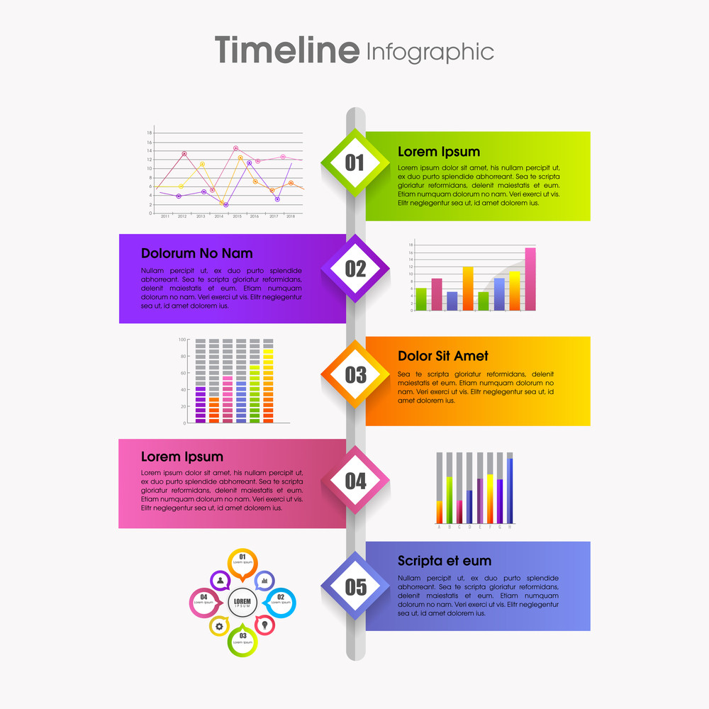 colorful infographic template layout with number pointers for
