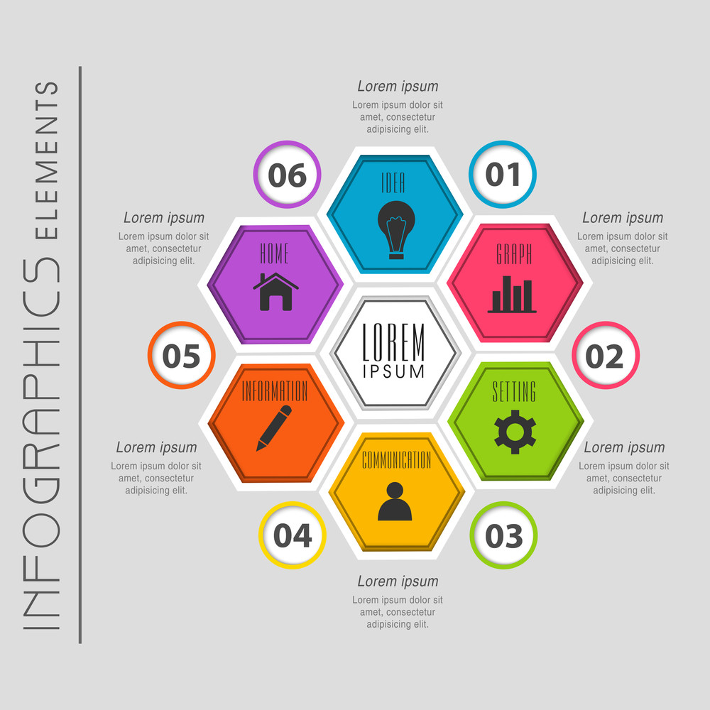 colorful infographics elements with web symbol can be used for